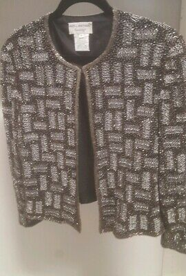 Papell Boutique Evening Black/Silver Silk Glass Beaded Jacket L Exquisite MINT