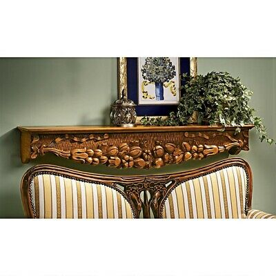 European Manor Mantle Pediment Shelf Handcarved Solid Wood Antique Replica