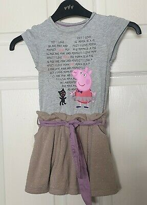 M&S Grey Gold Mix Peppa Pig Dress Girls 2-3 Years