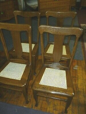 Antique Oak Chairs Set of 4 T-backs 1920's cane seats refinished