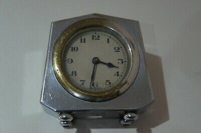 Very Stylish Foreign Art Deco Plated Desk/Bedside Clock - Keeps Good Time
