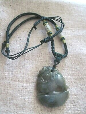 VINTAGE ASIAN NATURAL spinach GREEN JADE CARVED PENDANT