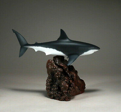 GREAT WHITE SHARK by JOHN PERRY 15in long Airbrushed sculpture New direct from