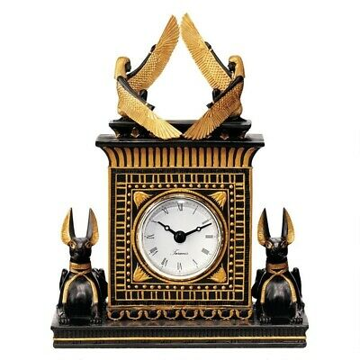 Ancient Egyptian Sculptural Clock Adorned by 2 Jackal Gods Mantle Timepiece
