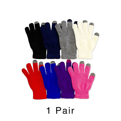 Pair of Womens Winter Knit Touchscreen Gloves Warm Soft Full Finger Mittens