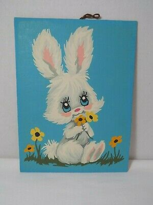 Vintage PBN Paint By Number Completed Wall Art Bunny w Flowers No Frame 6x8