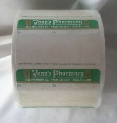Vann's Pharmacy LOT OF PHARMACY LABELS 1000 ORGINAL ROLL Richfield Ohio vintage