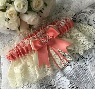 WEDDING GARTER CORAL PINK SATIN AND IVORY LACE HEARTS bridal shower gifts bride
