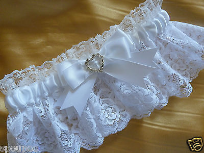 White French Wedding Bride Garter Satin And Lace Bow Heart Or Square Diamantes