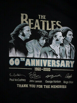 The Beatles 60th Anniversary Thank You For The Memories T-Shirt 2XL MENS T423