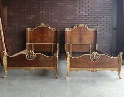 Antique French Style Twin Beds ~ French Provincial Twin Bed Frames ~ A Pair