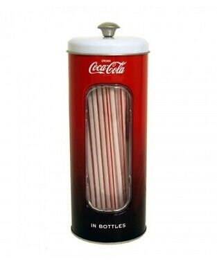 Coca Cola Tin Straw Holder With Straws - Coke - Officially Licensed