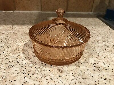 Vintage Pink Depression Etched Glass Candy Trinket Dish Swirl With Lid