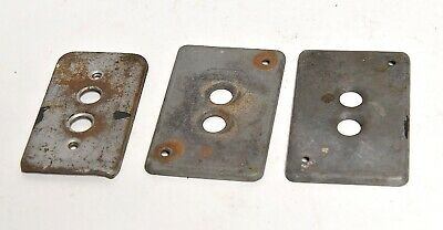 3 Vintage Galvanized Electrical Push Button Switch Plates Architectural Salvage