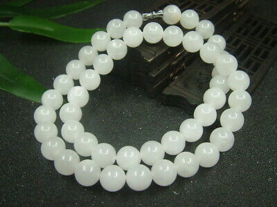 Antique Chinese Nephrite Celadon-HETIAN- White Jade 10mm Beads Necklace Pendant