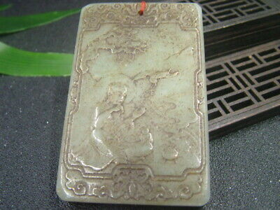 Antique Chinese Nephrite Celadon-Hetian-OLD Jade Under the tree Statue/Pendant