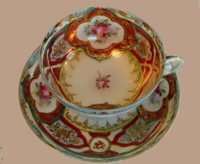 Amazing!~Pre~1891~Nippon~Intricate~Gold~Colorful~Roses~Tea Cup~Saucer~Plate