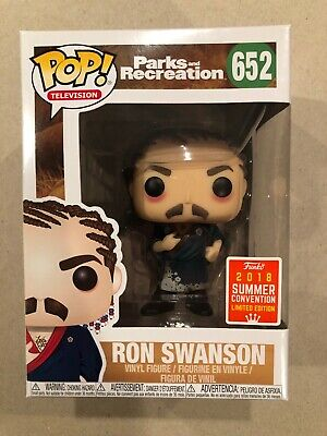 FunkoPOP! Parks And Rec Ron Swanson 2018SDCC Exclusive W/Cornrows#652W/Protector
