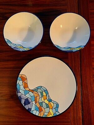 Vintage Ceramar Abstract 1 Plate & 2 Bowls Gaudi Mint Modernist