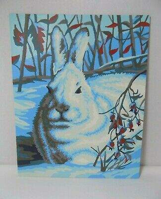 Vtg PBN Paint By Number Completed Wall Art Winter Scene Snow Hare No Frame 8x10