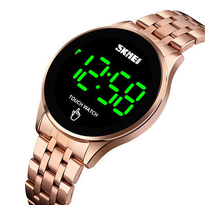 SKMEI Men's LED Display Touch Screen Stainless Steel Date Digital Watch Vogue