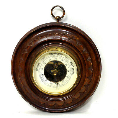 Vintage DANISH ROUND CARVED WOOD BAROMETER Weather Station Wall Hanging