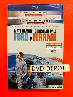 Ford V Ferrari Blu-Ray + Digital Code & Slipcover Brand New FAST Free Shipping
