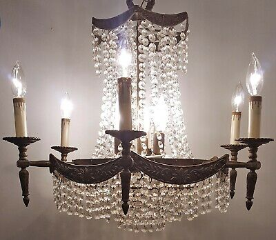 Antique Crystal Chandelier Vintage French Basket 12-Light Fixture Ornate Brass