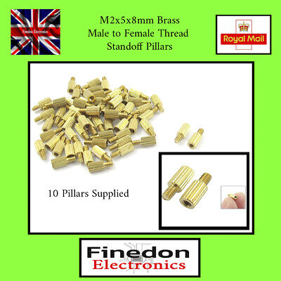 Qty 10 Brass Stand-off Pillars Spacers M2x5x8mm Male to Female UK Seller