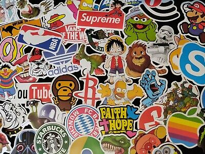 100 Hypebeast Skateboard Stickers - Sticker Pack Decal Bomb Laptop - No Repeats