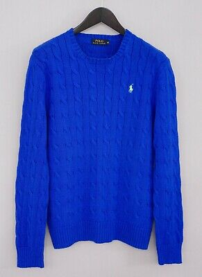 Men Polo Ralph Lauren Jumper Blue Cable Knit Crew Neck M XMO691