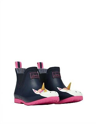 NEW! Joules Girls Navy Unicorn Wellibob Short Height Wellies with Gold 3D Horn