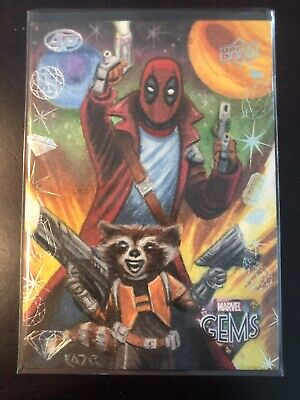 2016 Marvel Gems Deadpool Rocket Racoon AP Sketch Card By Frank Kadar!