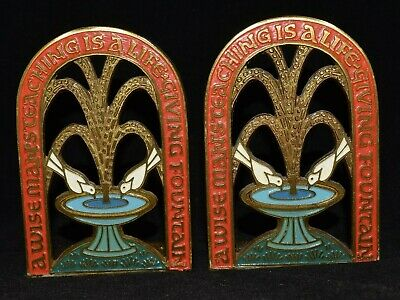 Vintage Brass Terra Sancta Guild A Wise Man's Teaching Life Giving Book Ends