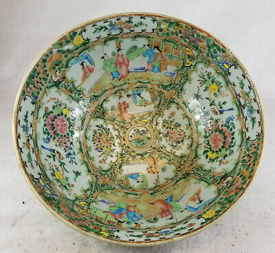 Antique Chinese Rose Medallion Large Punch Bowl As Is Damaged Repaired