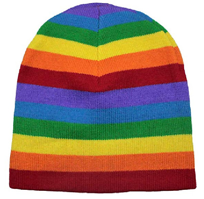 Kids Rainbow Beanie Hat Striped Boys Girls Winter Warm Stretchy Hat Super Soft