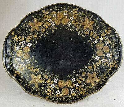 Antique English Style Toleware Serving Tray Floral Design Enamel on Metal