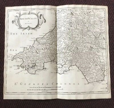 1695 Map of SOUTH WALES Original Welsh Antique Map  Robert Morden RARE