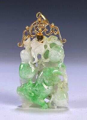 Nice Chinese Carved Jade Jadeite Pendant in 14K Gold Mount