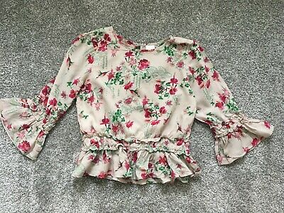 next girls floral floaty blouse top age 7