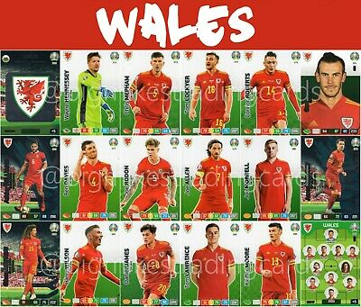 Panini Adrenalyn Xl Uefa Euro 2020 Wales Full 18 Card Team Set - Euros
