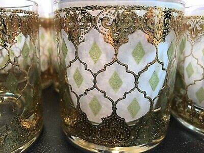 Vintage MCM Culver Valencia Bar-ware Glasses 24K Gold Green Set of 8...Nice!...