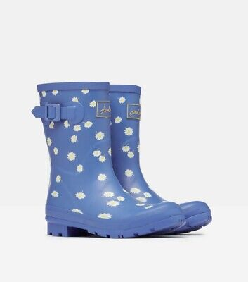 NEW! Joules Short Height Blue Daisy Ladies Molly Wellies Size 4-7