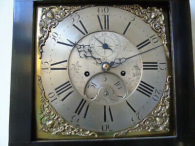 "Rare Ebonised 11.5"" Brass Dial Longcase Clock by James Hine, Exeter c.1775"