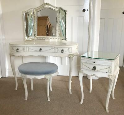 Antique French Louis Bedroom Set Dressing Table, Mirror, Stool & Bedside Table