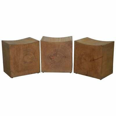 Set Of Three Rrp £2781 Riva 1920 Hand Made In Italy Cedar Wood Stools Part Suite
