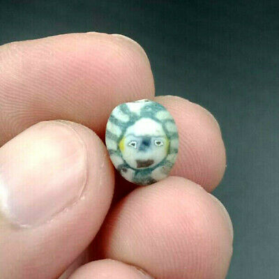 Ancient Mosaic Glass Phoenician Roman SUN Protection Face Double Side Bead