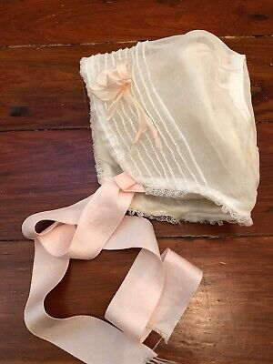 VTG Antique Baby Girl Bonnet Ivory Organza Silky Lined Lace Netting Pink Ribbon