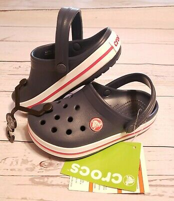 CROCS Kids * Relaxed Fit Navy/Red * Crocband K * Size 10 * NWT NEW