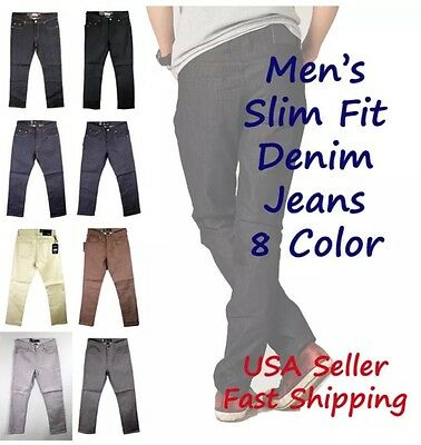 Mens Slim Jeans Stretch Comfy Raw Denim Pants Casual Jeans Kayden K